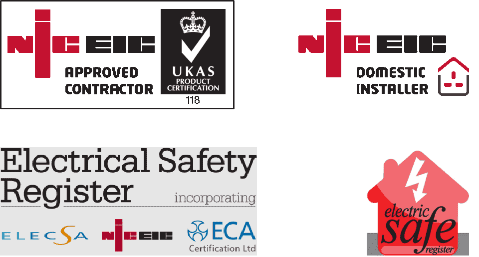 Logos: NICEIC Approved Contractor and NICEIC Domestic Installer; Electrical Safety Register; Electric Safe